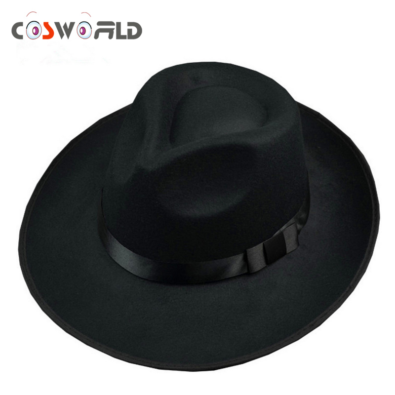 Cosworld Michael Jackson Hat Stage Show Cap <font><b>Fedoras</b></font> Concert Dance <font><b>Fedoras</b></font> Classic Solid Black Wide Brim Jazz Gentleman Hat