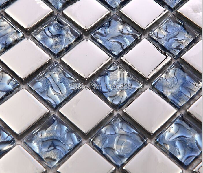 Free shipping!Silver Blue electroplated crystal glass mosaic Bathroom wall border stairs porch kitchen wall tiles decor,LSDD06