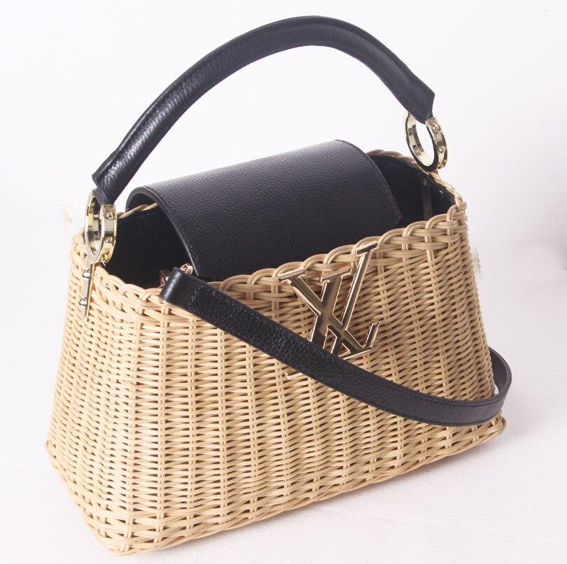 2019 Neue Leder Handtaschen Rattan Tasche Tragbaren Umhängetasche Handgemachte Handtaschen Frauen Große Tasche Stroh Tasche High-grade Einfach Zu Schmieren