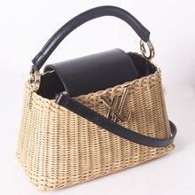 2019 new leather handbags rattan bag portable messenger
