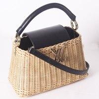2019 new leather handbags rattan bag portable messenger bag handmade handbags women's big bag straw bag high grade