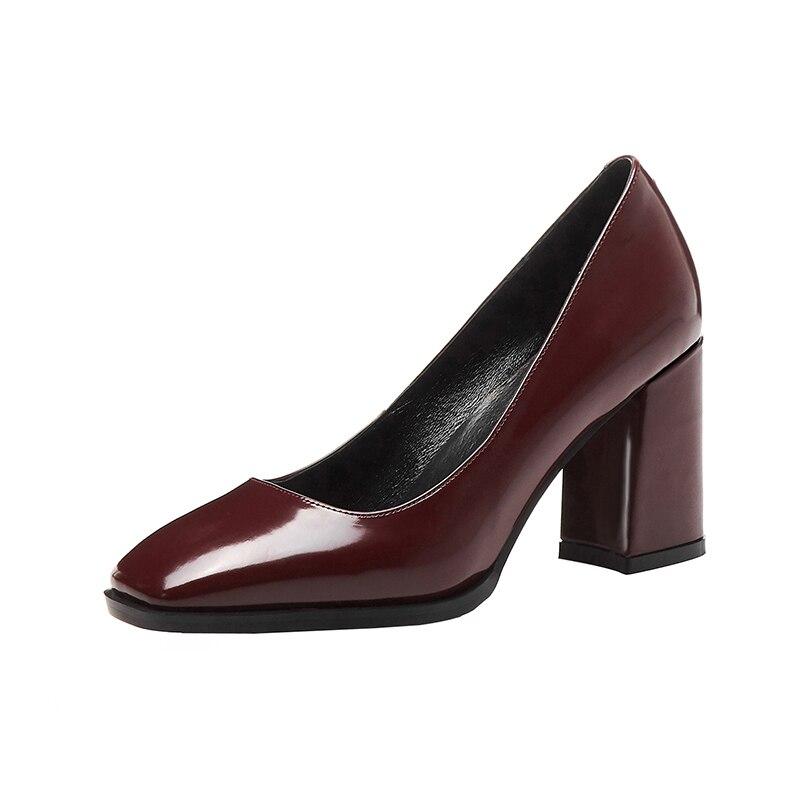 Ins Sarairis Cuir Offre Pompes De Noir Nouvelle Talons Véritable Spéciale Classiques En Pointu Bout vin Chaussures Épais Femmes Rouge Matures qRrwXARx