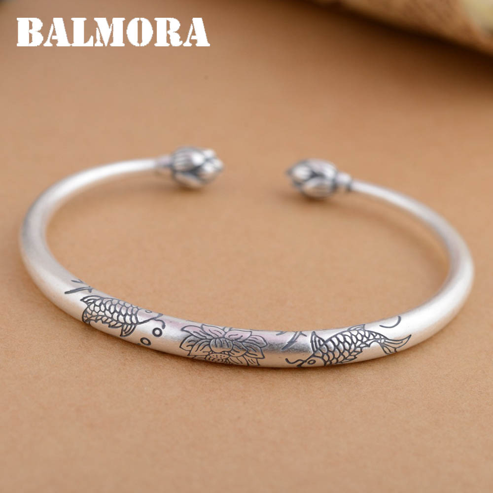BALMORA Solid 990 Pure Silver Fish Flower Open Bangles for Women Lover Gift Bracelet Silver Jewelry