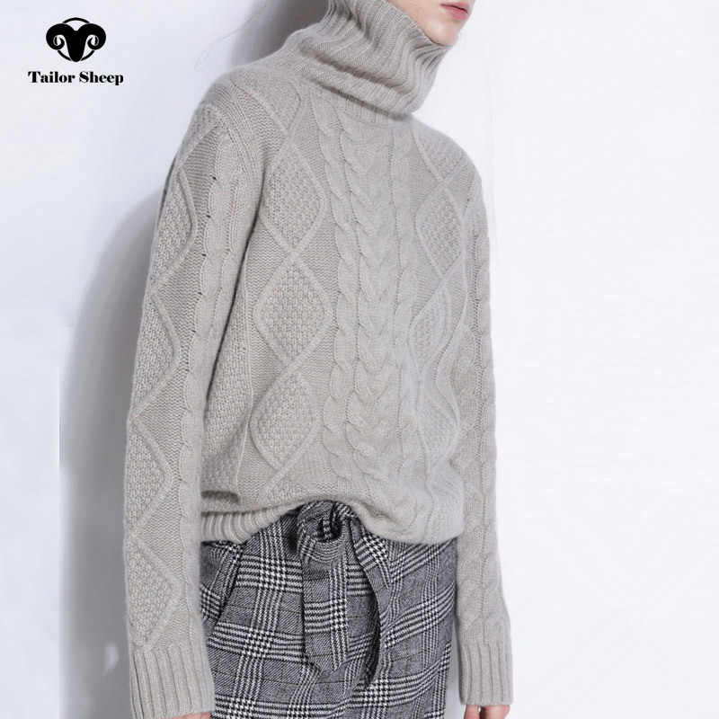 Suéter de cuello alto de oveja a medida para mujer, jerseys de cachemir de invierno, Jersey suelto grueso de manga larga para mujer