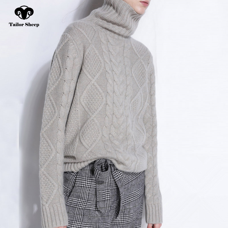 TAILOR SHEEP turtleneck sweater women winter cashmere jumpers wool knit bottom female long sleeve thick twist loose pullover