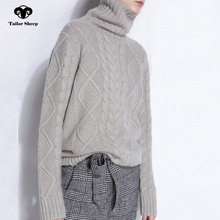 цена TAILOR SHEEP turtleneck sweater women winter cashmere jumpers wool knit bottom female long sleeve thick twist loose pullover