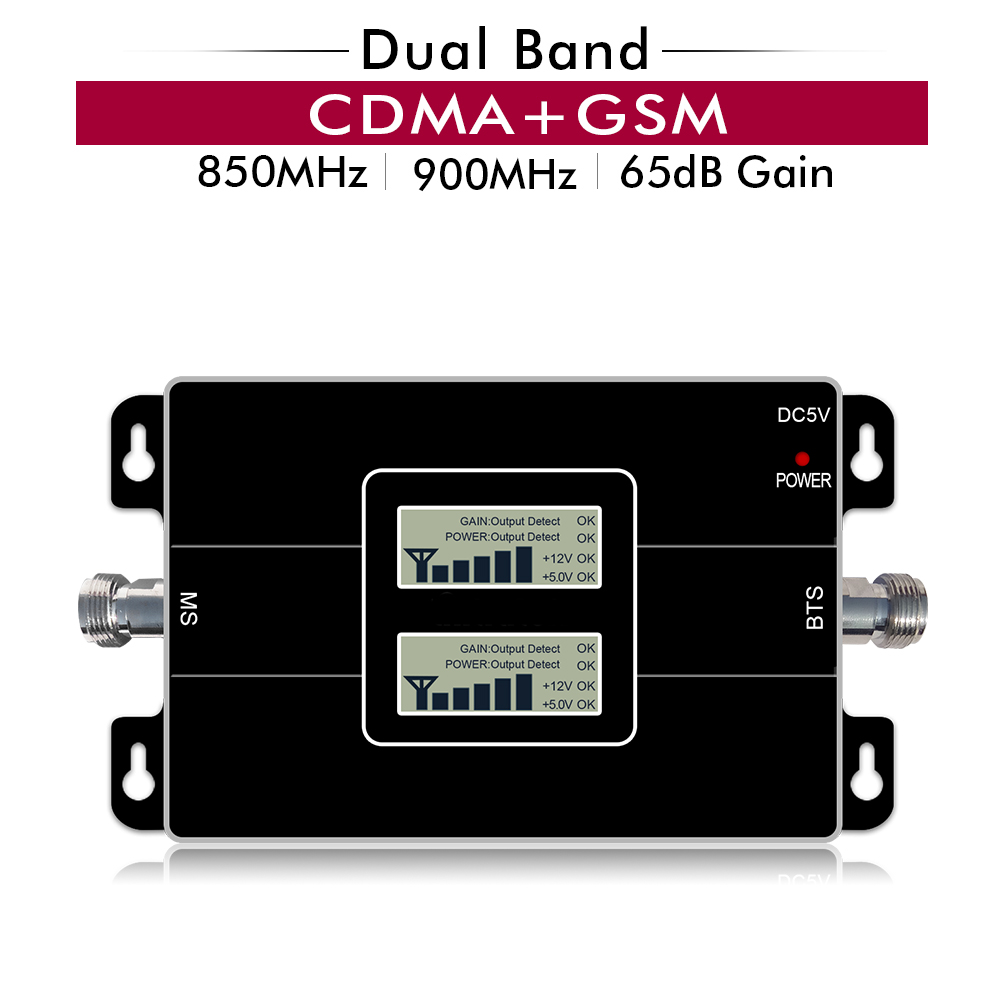 65dB Gain 17dBm LCD Display Dual Band Repeater CDMA 850 GSM 900 MHz 2G 3G Cellular Mobile Signal Booster Amplifier Up to 500sqm65dB Gain 17dBm LCD Display Dual Band Repeater CDMA 850 GSM 900 MHz 2G 3G Cellular Mobile Signal Booster Amplifier Up to 500sqm