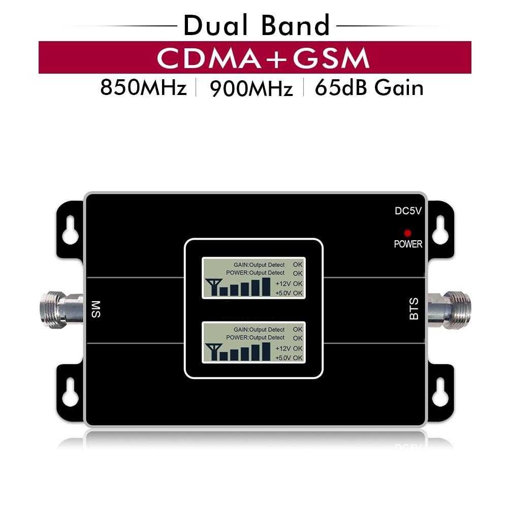 65dB Gain 17dBm LCD affichage double bande répéteur CDMA 850 GSM 900 MHz 2G 3G cellulaire amplificateur de Signal Mobile jusqu'à 500sqm