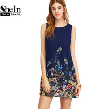 SheIn Womens Dresses New Arrival 2017 Navy Buttoned Keyhole Back Flower Print Scoop Neck Sleeveless A Line Dress