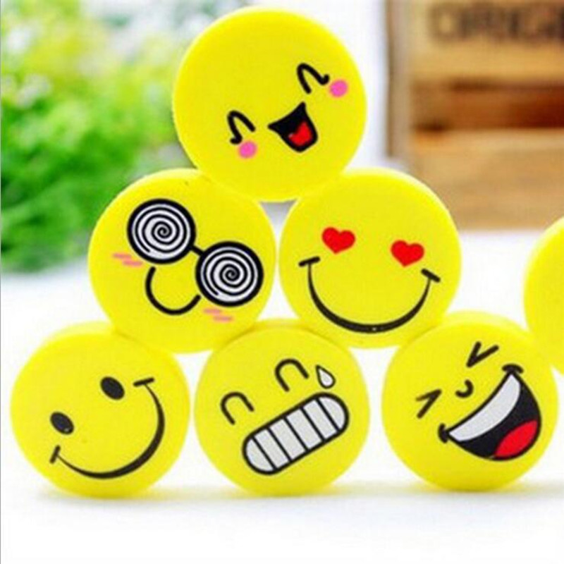 120 Pcs/lot Smile Yellow Emoji Expression Cartoon Face Eraser Cute Stationery School Supplies party favors for kids