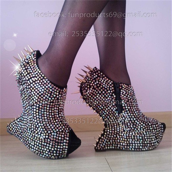 985569dc3b13 Promotion NEW 2012 spike rhinestone pumps no heel shoes Sexy heel less  crystal high heels wedges shoes drop shipping