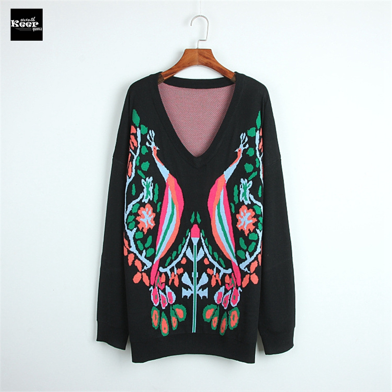 2018 New Luxury Fashion Runway Designer Women Sweater Pullover Peacock Jacquard Long Loose Knitted Tops Warm Fall Winter Jumper