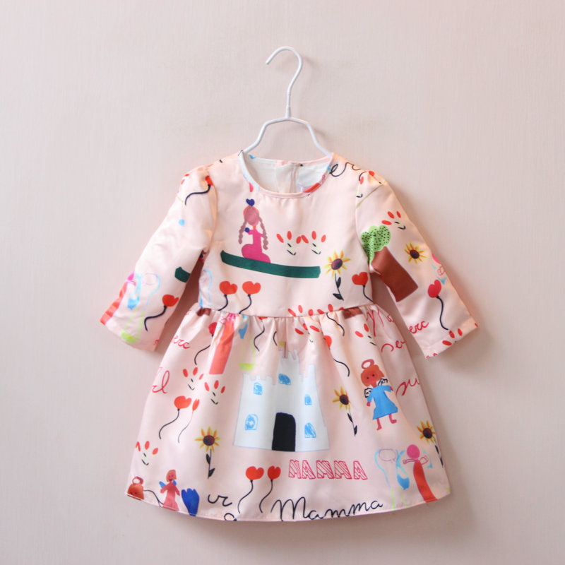 baby girl kids clothes fashion children clothing cute princess long sleeve girls dresses cotton 2-7 yrs 2016 autumn summer dress fashion kids baby girl dress clothes grey sweater top with dresses costume cotton children clothing girls set 2 pcs 2 7 years
