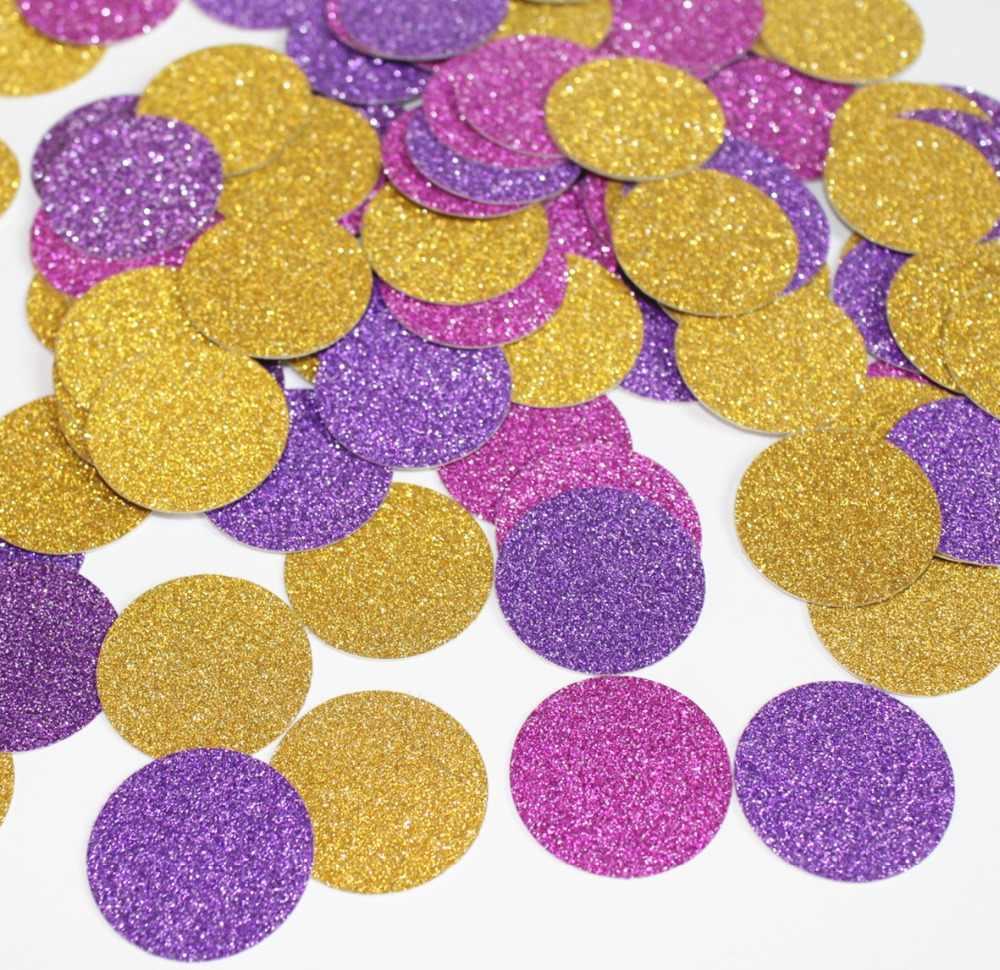 Princesa emaranhado rapunzel menina crianças festa de aniversário decoração de mesa glitter círculos roxo fúcsia ouro nascimento das crianças
