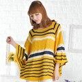 Новый 2015 Весна Свободные Вырез Женщин Свитера Женская Мода Рукава Летучая Мышь Пуловеры Бесплатная доставка