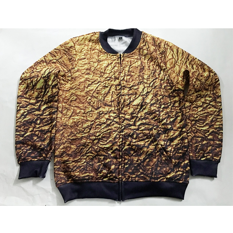 Real American Size gold chains 3D Sublimation Print Zipper Up Jacket plus size