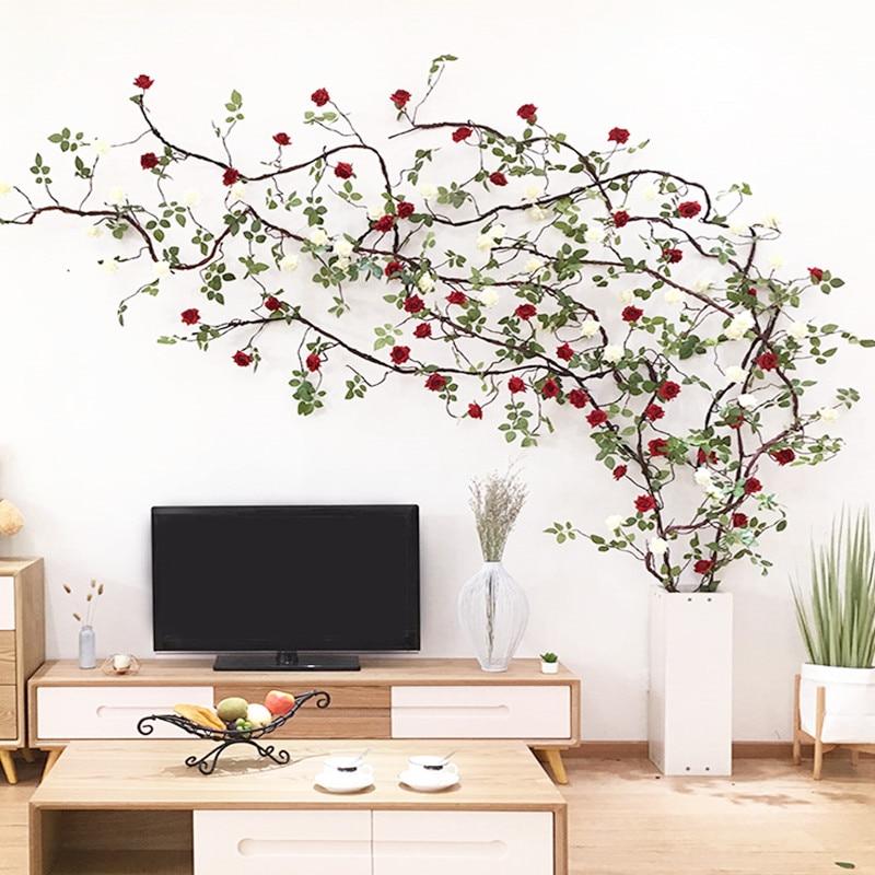 3m Long Vine Artificial Rose String False Flower Wedding Decoration Rose Vine Decoration Home Door Wall Decoration Party Flower