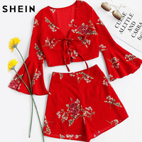 SheIn Womens Sets Two Piece 2017 Red Floral Falre Sleeve V Neck Lace Up Crop Top
