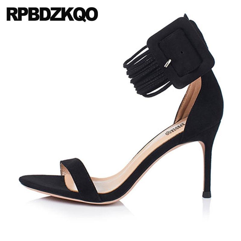 Pumps Sandals Stiletto Open Toe Black Ankle Strap Blue Summer Big Size High Heels Suede Runway Designer Shoes Women Luxury 2018