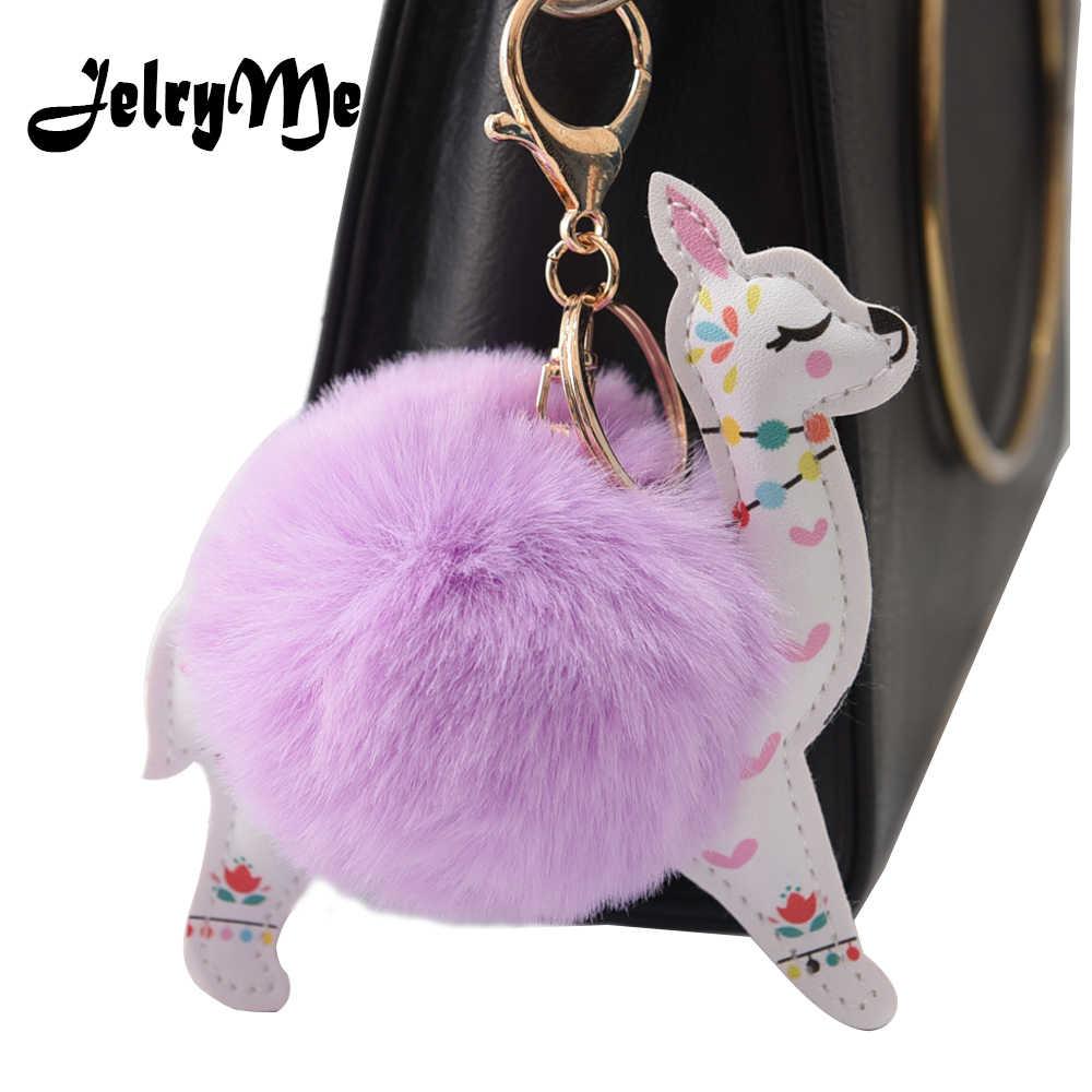 Fofo Bola De Pêlo Bonito Alpaca Animais Chaveiro De Couro Chaveiro Charme Chaveiros Artificial Pele De Coelho Pompom Chave Cadeia Mulheres Jóias