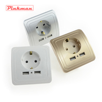 Best Dual USB Port 2A Wall Charger Adapter EU Plug Socket Power Outlet Panel Grounded Electric