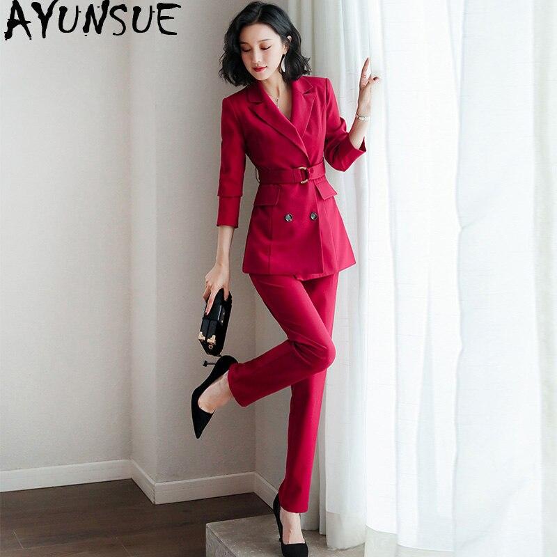Ensemble Printemps D'automne Bureau Pièces Femmes Dame Coréenne Tenues Zt2054 Red 2019 Élégant Costume Pour Carrière Pantalon Vêtements Deux Wine f7gbyY6v