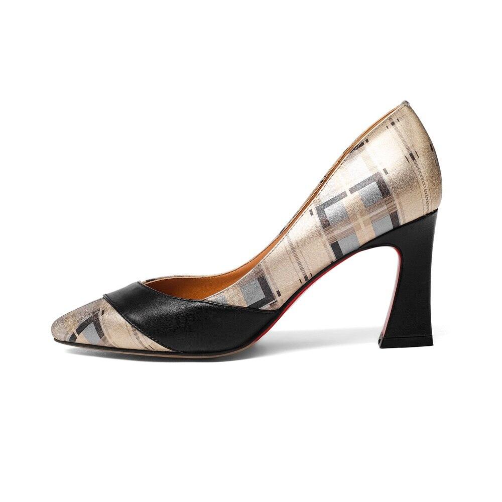 Chaussures Qualité En Bout 34 Femme Taille Nouveau Grande Talons Pompes Asumer Robe Véritable Pointu Été Femmes Dames 43 Hauts Top Cuir À Or JTl1KFc