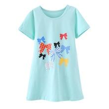 Girls Princess Nightgowns Summer Short Sleeve Cartoon Nightdress Knitted Pajamas Children Girls Sleepwear 4 6 8 10 12 13 Years
