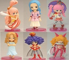 Japanese Cartoon One Piece Cute Vivi Perona Shirahoshi PVC Action Figures Toys 6pcs/lot High Quality opp bag