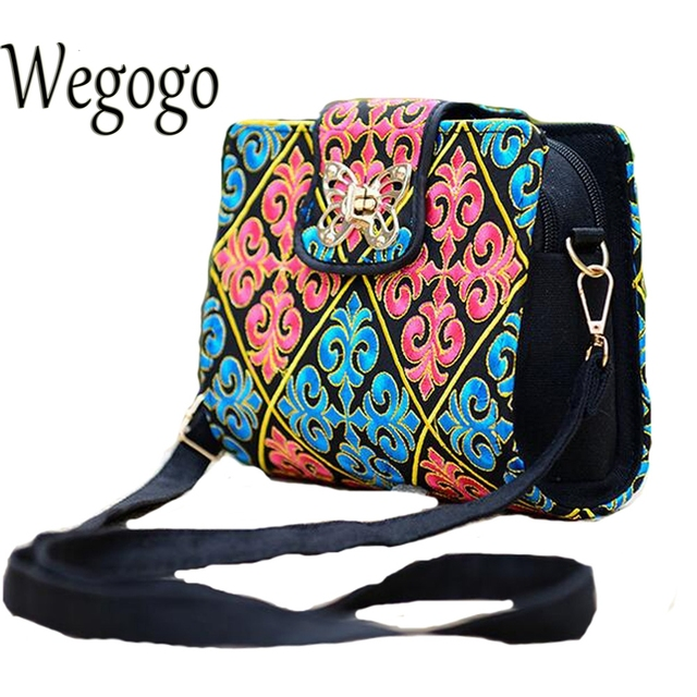 Women Sling Bag Ethnic Vintage Embroidered Canvas Cover Shoulder Messenger Bags