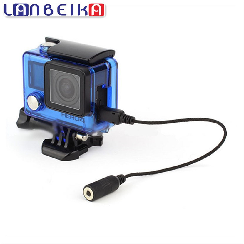 LANBEIKA For Gopro 3.5mm Active Clip Microphone with Mini USB External Mic Audio Adaptor Cable For Go Pro Hero 2 3 3+ 4
