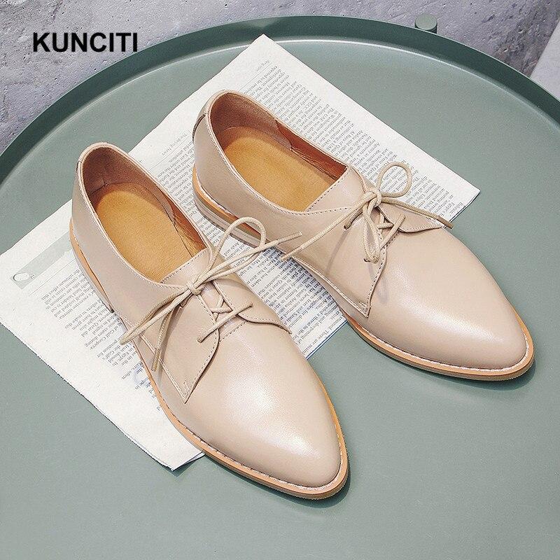 2019 KUNCITI Point Toe Lace Up Women Brogue Shoes Genuine Leather Flat Shoes Plus Size 34