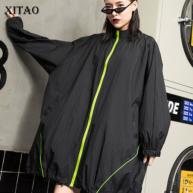 [XITAO] Women 2019 Summer New Fashion Stand Collar Full Sleeve Loose Coat Female Solid Color Pocket Casual Long   Trench   WBB3283