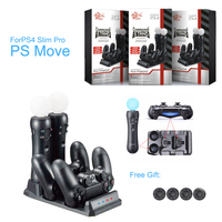 4 in 1 PS4 Schlank Pro SONY Playstation 4 PS VR PS Move-Motion-Controller Ladegerät Ladestation Dock Lagerung stehen Mit Caps