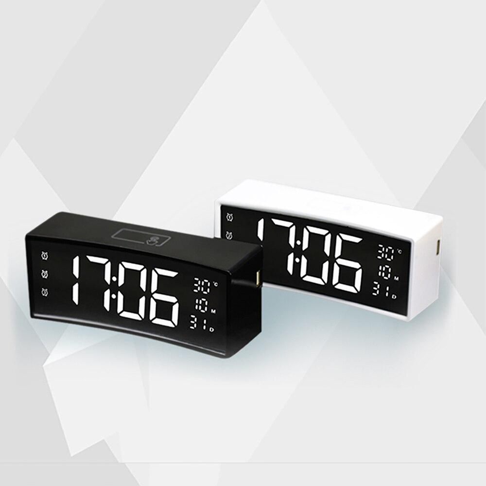 Criativo Desk Despertador Digital 3D Suspensão Fonte Tela LED Display Eletrônico Relógio Superfície Curva Design Exclusivo Para Casa