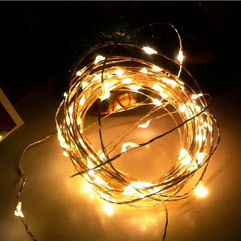 33ft 10 м 100LED Батарея Гирлянды светодиодные свет 3aa Батарея работает Медь Строка Фея Света для свадьбы Рождество украшения