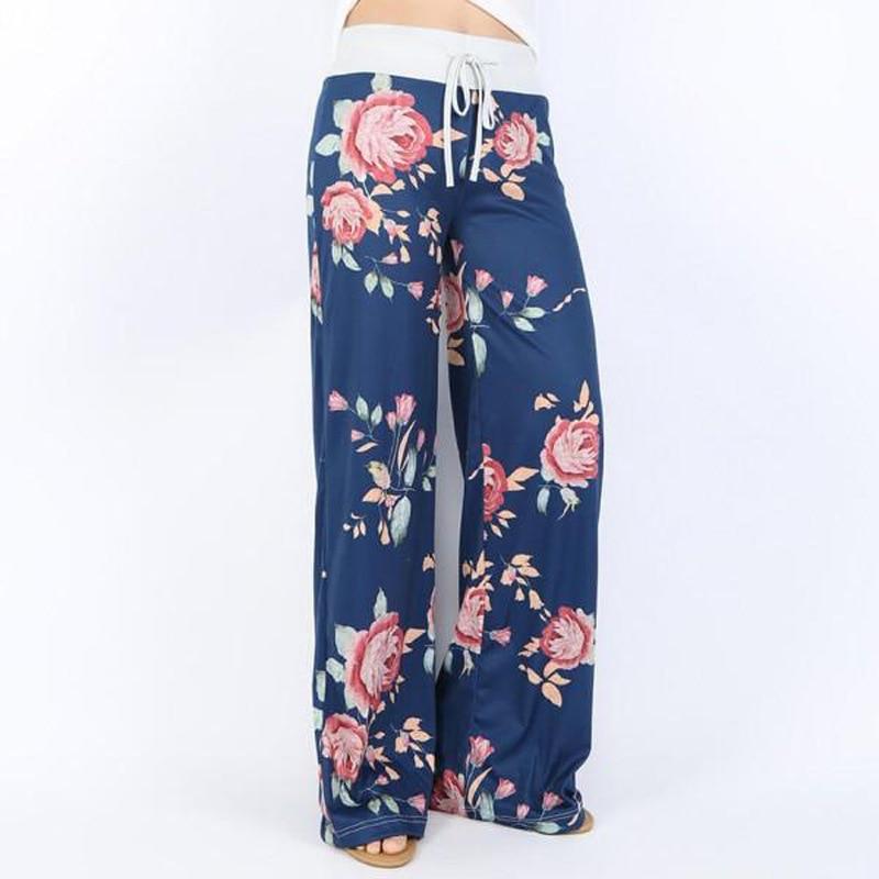 Autumn 2018 Sleep Bottoms Women Floral Print Pants Lace Up Waist Drawstring Wide Legs Trousers Loose Pijama Plus Size B88393 3