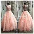 New designer 2016 laço cor de rosa vestido de baile vestido de baile dois pedaço do pescoço da colher beading vestidos de baile vestidos de baile imagem real