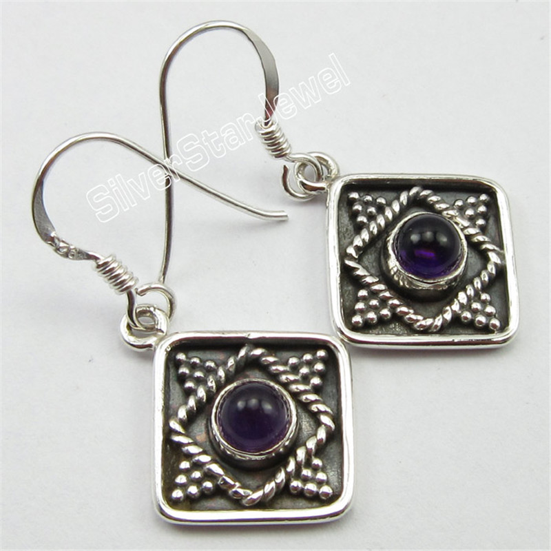 Sterling Silver PURPLE AMETHYSTS Gem Stone OLD STYLE Earrings 3.4 CM OXIDIZED VARIATION