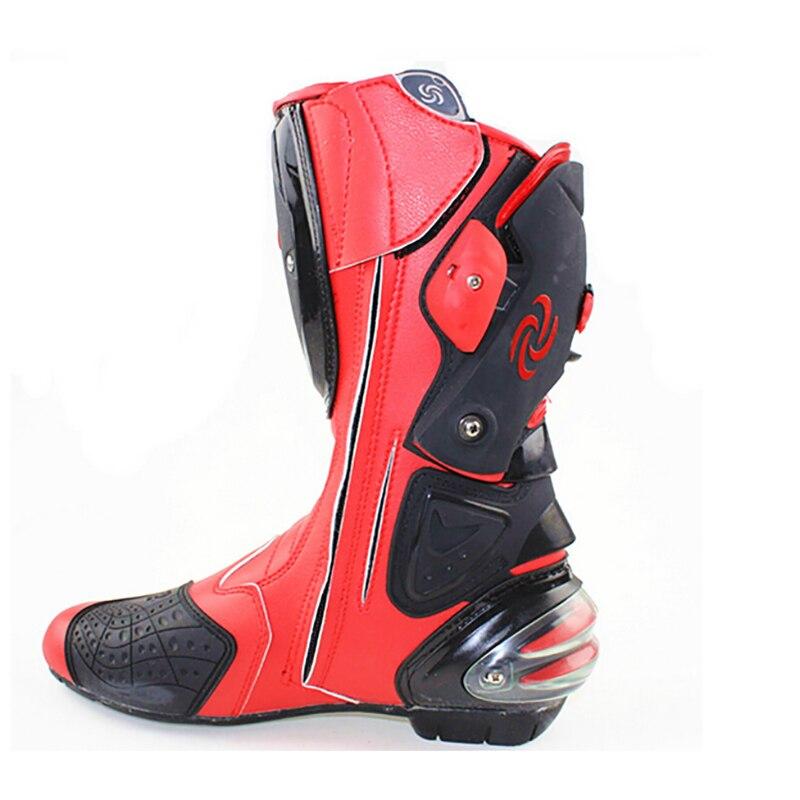 Mannen Motorfiets Beschermende Gear Laarzen Pro Biker Speed Riding Schoenen Motocross Microfiber Lederen Laars Botas Motorlaarzen - 4