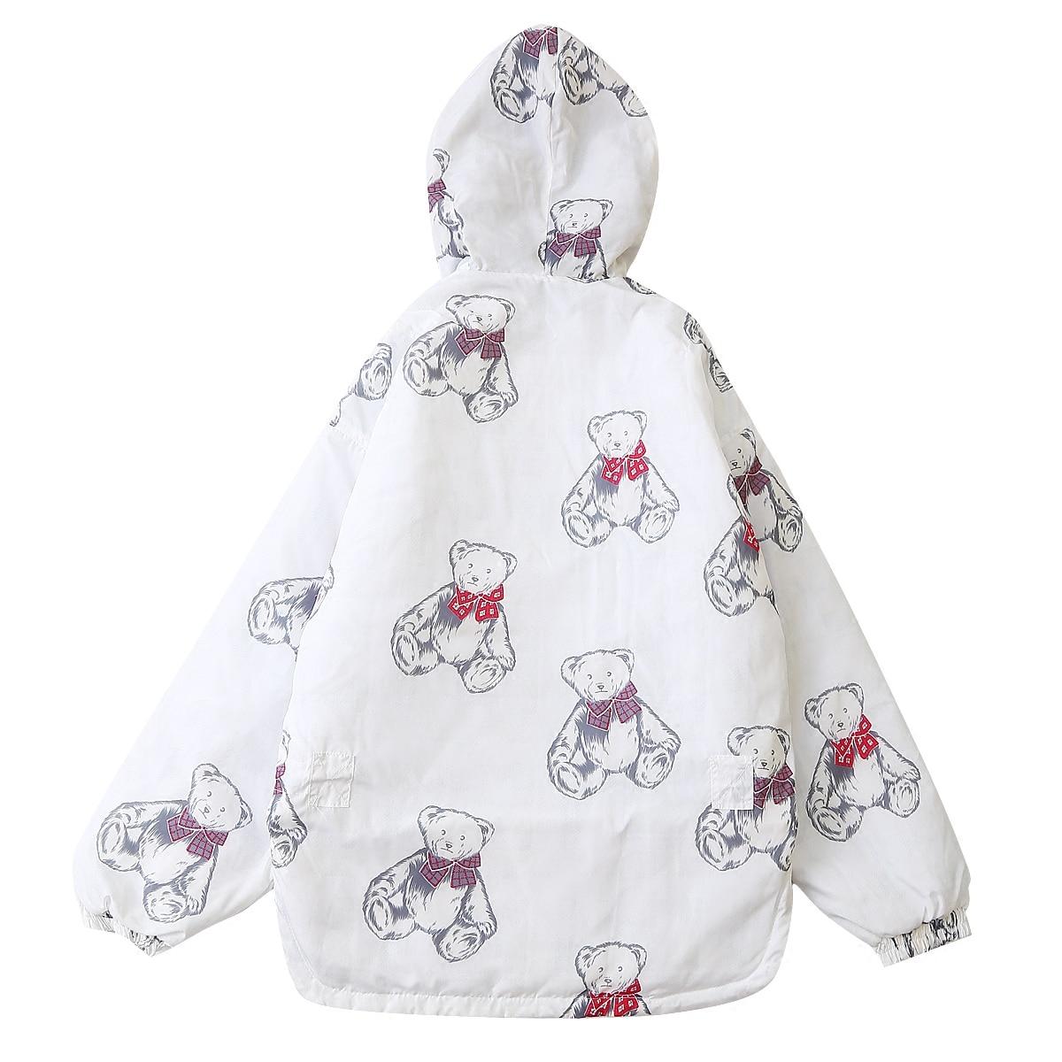 Con Cappotti Parka Outwear Dolce Spessore Orso Donne Squisito Simpatico Gusto Stampato Caldo Delle Cappuccio Inverno Stile Bianco Di Disegno Nuovo WqwF8v