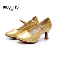 Купить с кэшбэком New Heeled Modern Dance Shoes For Ladies Ballroom Tango Salsa Latin Dancing Shoes Women's Modern Dance Shoes Gold Silver Black