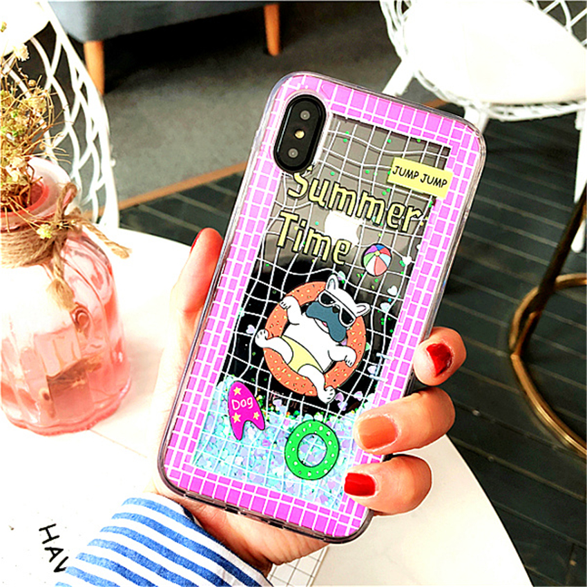 Suprem Cartoon Cute Dog Football Phone Case 7 Plus For iPhone X 6 6s 8 Plus Soccer Glitter Dynamic Liquid Quicksand Cases