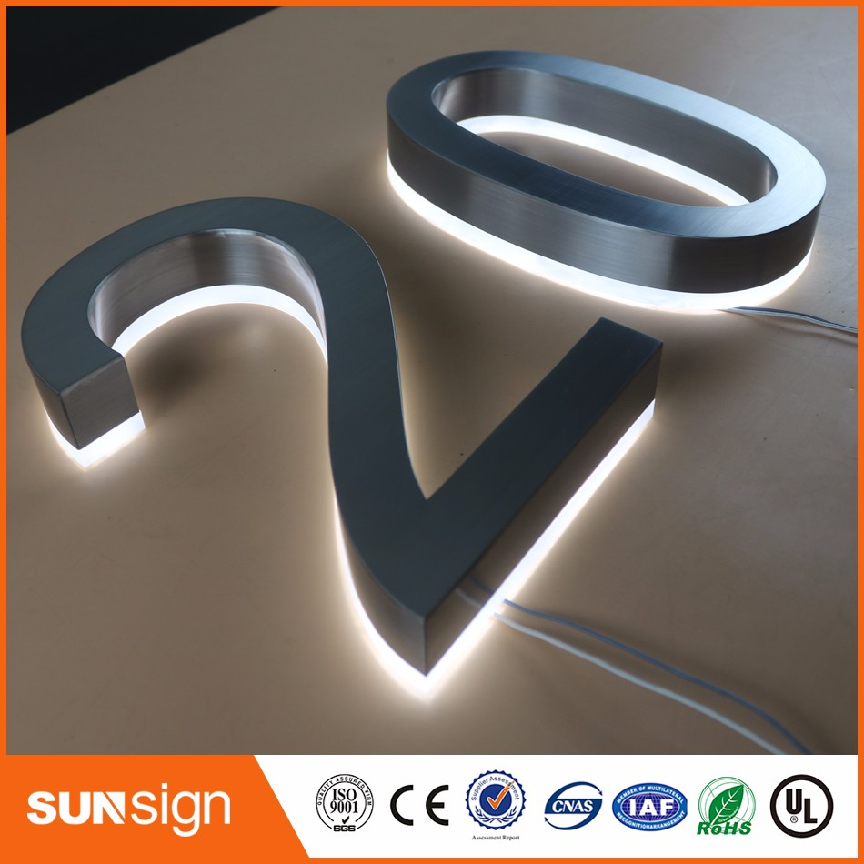 H20cm One Letter Custom Backlit LED Letters Or Numbers H200mm Brushed Stainless Steel Material