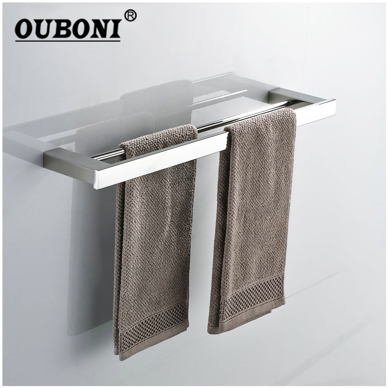 Nickel Brushed Bathroom Wall Mounted Bathroom Towel Rail Holder Storage Rack Shelf Bar Hanger Double Hanging rod towel rack 2016 high quality brass and crystal bathroom towel rack gold towel holder hotel home bathroom storage rack rail shelf