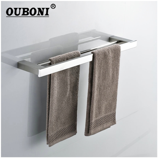 Nickel Brushed Bathroom Wall Mounted Towel Rail Holder Storage Rack Shelf Bar Hanger Double Hanging Rod