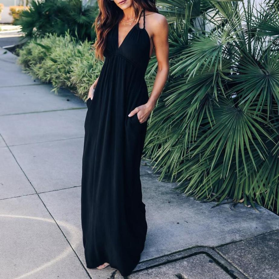 Womens Solid Long Dress Casual Loose Summer Sleeveless Maxi Dresses Sexy Backless Halter Black Dress #BF