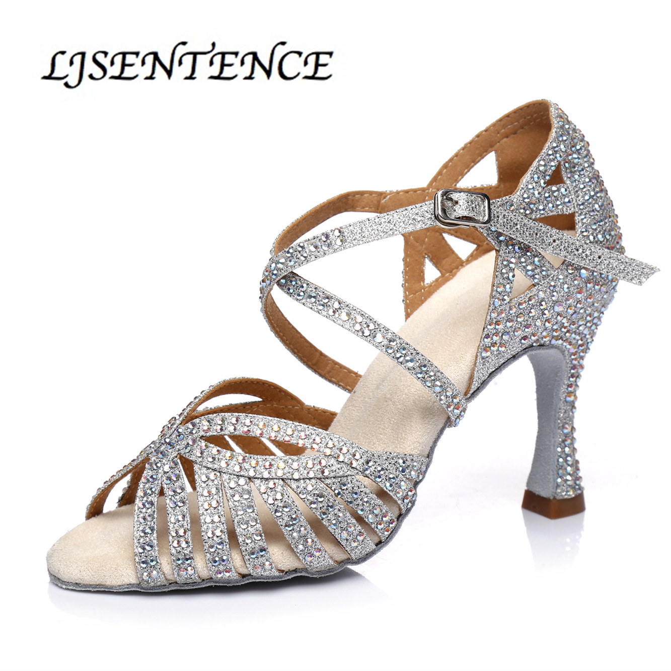 Grey Silver Shoes For Ballroom Dancing Woman Flash Cloth Collocation Shine Rhinestone Cuba Heels 9cm Latin Dance Shoes Women's