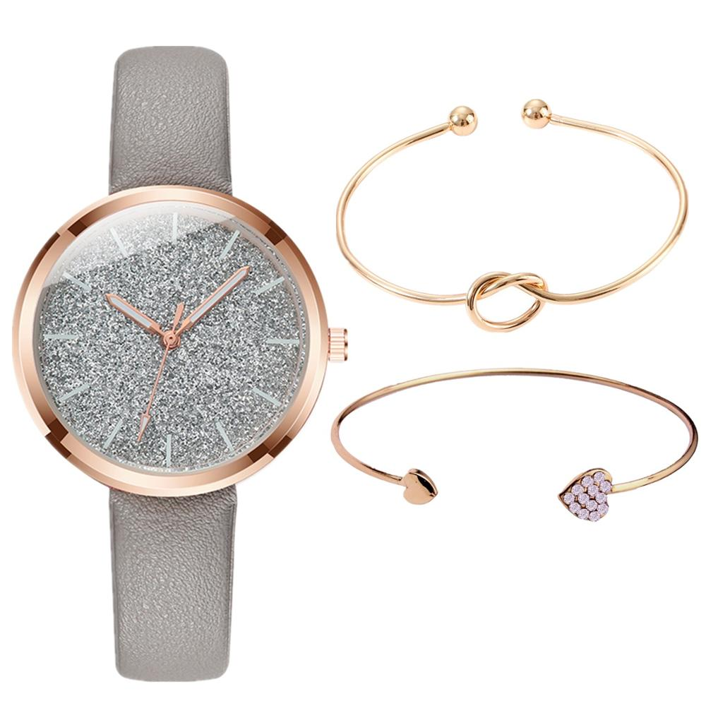 3PCS/SET Watch Bracelet Set Women Fashion Glitter Ladies Watch Women Watches Leather Women's Watches Clocks Gift Zegarek Damski