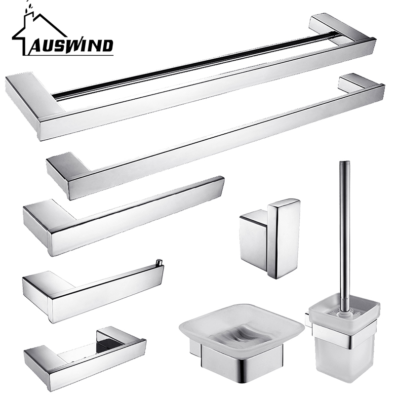 Modern Sus304 Stainless Steel Bath Hardware Sets Polished Chrome ...
